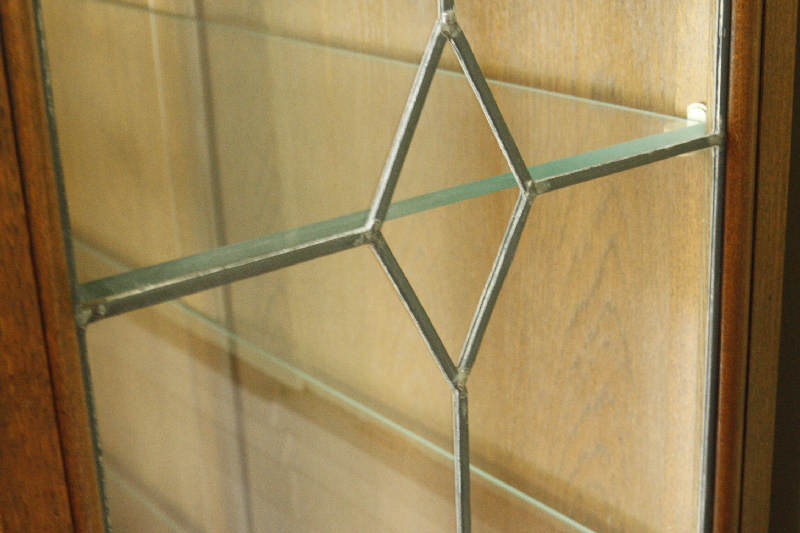 アンティーククリア・ステンドグラス グラスキャビネットcb3i画像14左側